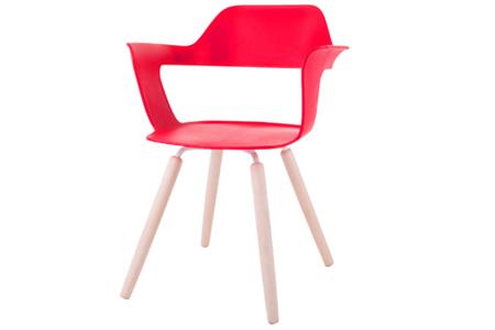 MUSE 沐司_四腳椅/裸紅(木紋腳)