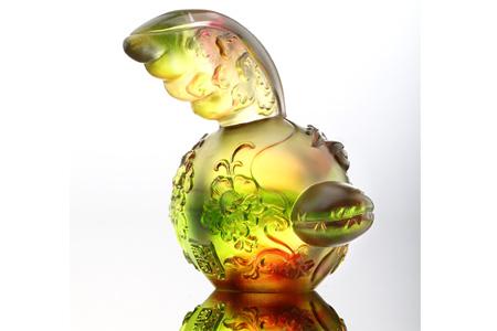 【琉璃工房】十二生肖花燦燦娃娃-叫我第一鳴(雞)/金紅綠透